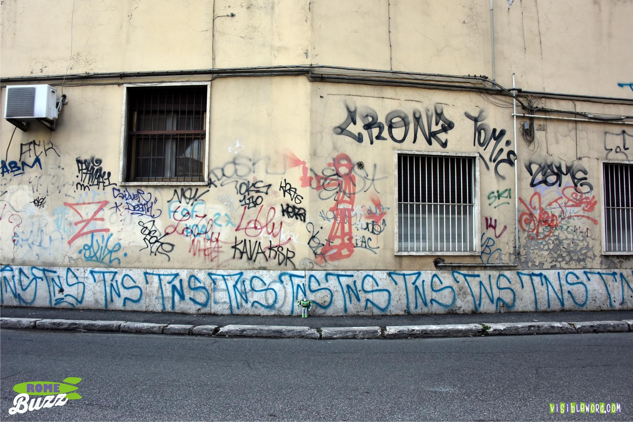 Rome buzz graffiti is an italian word photograph copyright david bailey not the
