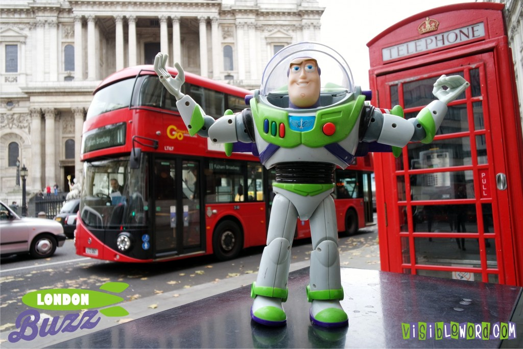 Buzz On Tour - Red bus and red telephone box outside St Paul's Cathedral