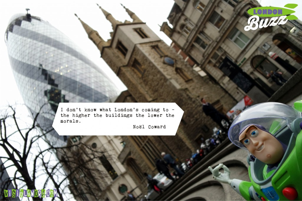Buzz On Tour - Buzz and the Gherkin - photograph copyright David Bailey (not the)