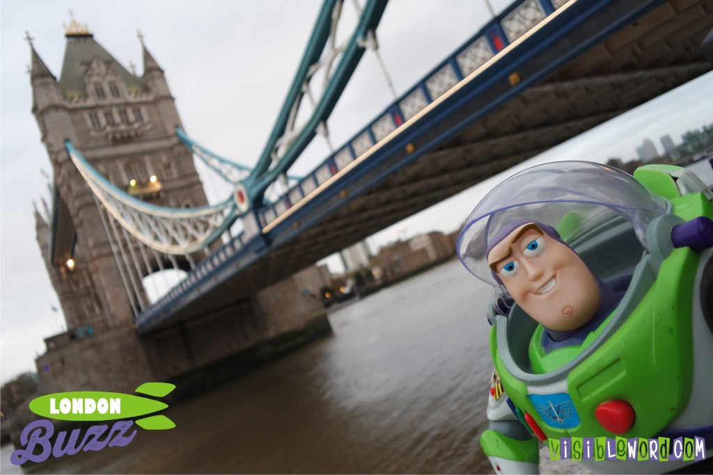 Buzz On Tour - Buzz selfie with Tower Bridge - photograph copyright David Bailey (not the)
