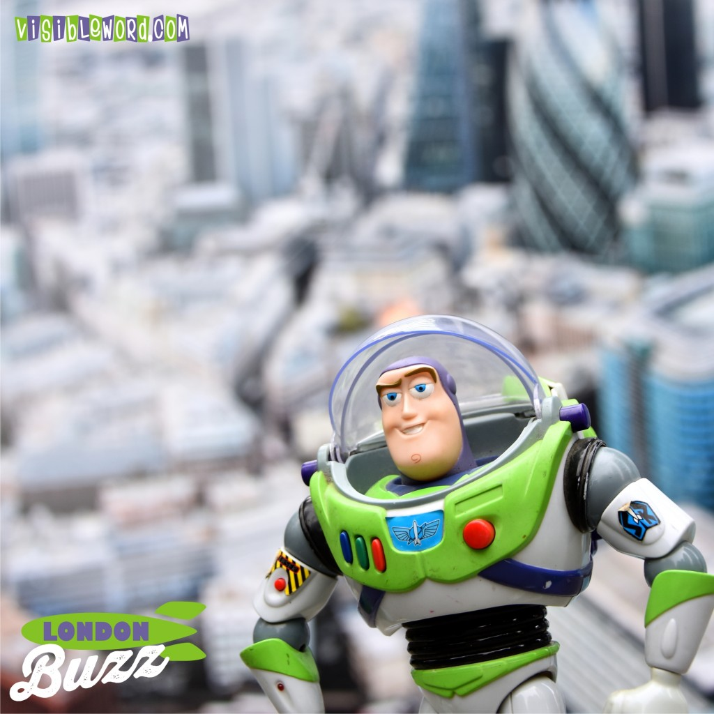Buzz On Tour - Buzz with London from the Air - photograph copyright David Bailey (not the)