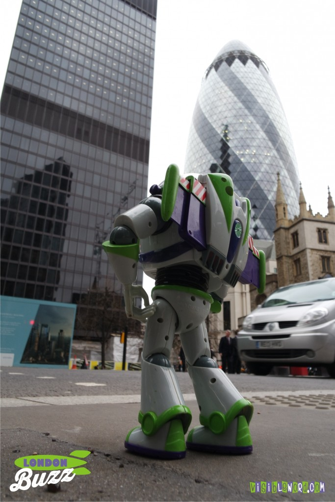 Buzz On Tour - Buzz crossing the road to the Gherkin - photograph copyright David Bailey (not the)