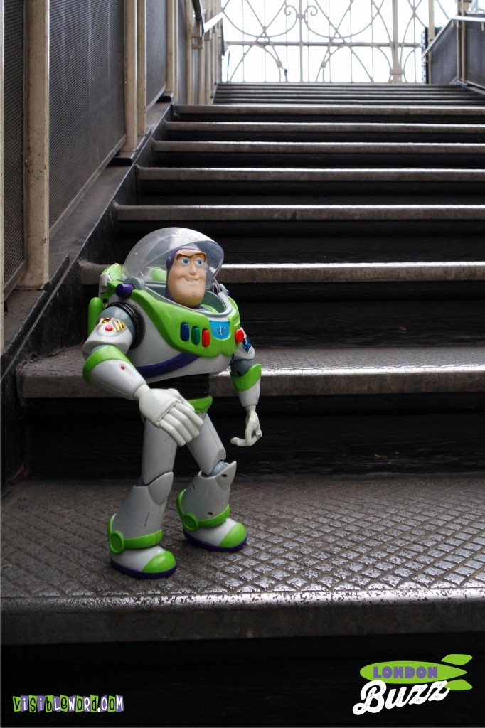 Buzz On Tour - Buzz on the steps at Paddington Station - photograph copyright David Bailey (not the)