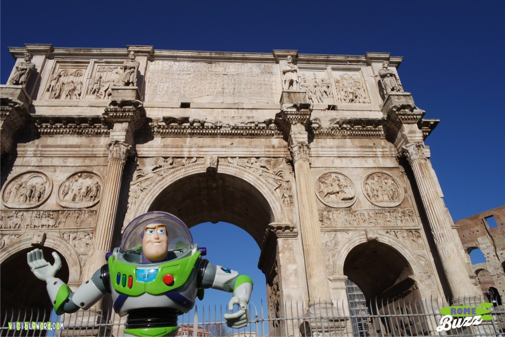 Rome Buzz - Buzz and the Arch of Constantine - photograph copyright David Bailey (not the)