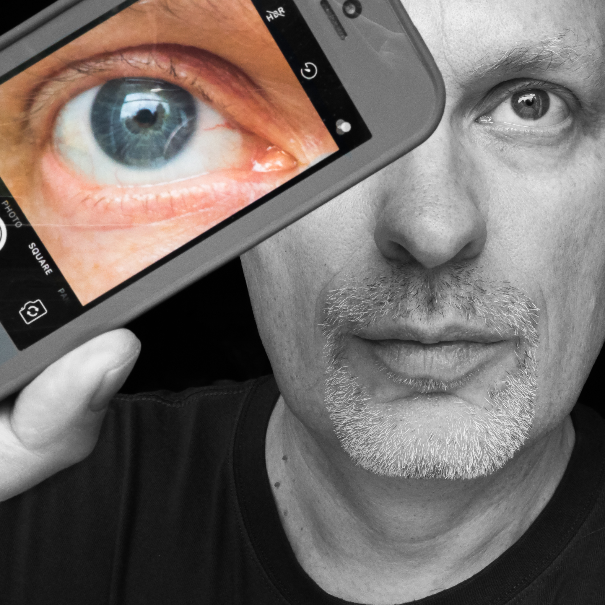Sunday Selfie - 'EyePhone' - Visible Word - photograph (c) David Bailey (not the)